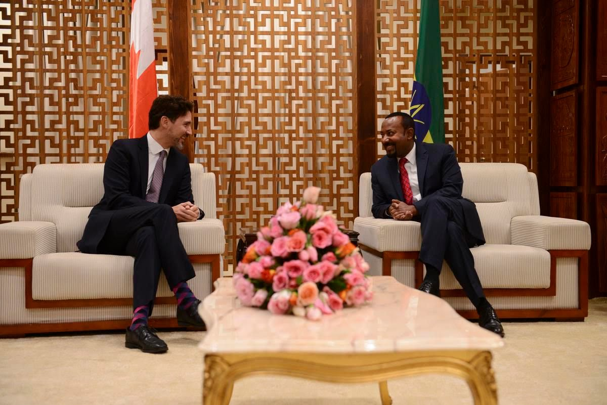 Canadian Prime Minister Justin Trudeau, left, meets with Ethiopian Prime Minister Abiy Ahmed as he arrives in Addis Ababa, Ethiopia, on Friday, Feb. 7, 2020.